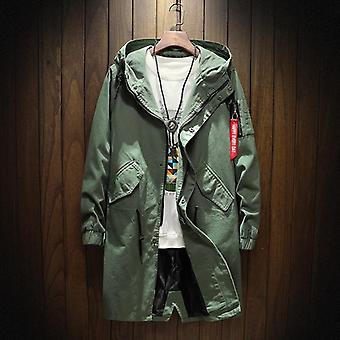 Long Trench Jacket, Men Cotton, Autumn, Spring, Black Hip Hop Coats, Streetwear