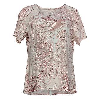 Elizabeth & Clarke Women's Top Short Sleeve Marble Print Pink A377478