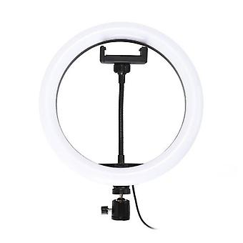 10'' Dimmable LED Selfie Round Light with Phone Clip Brightness Adjustable Lamp