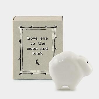 "Mini Matchbox Porcelain Sheep - ""Love ewe to the moon and back"""