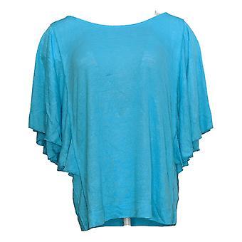 Belle By Kim Gravel Women's Sweater Slub Butterfly Sleeve Top Blue A375869