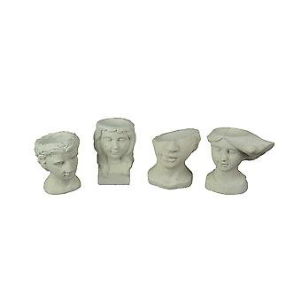 Set of 4 Washed White Cement Indoor Outdoor Mini Head Planters
