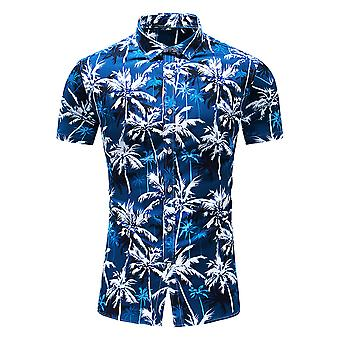 Yunyun Men's Botanical Print Pointed Summer Collar Short Sleeve Vogue Shirt