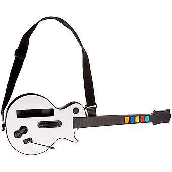 White Wii Guitar Wireless Hero and Rock Band Guitar Controller for Guitar Hero and World Tour Bundle