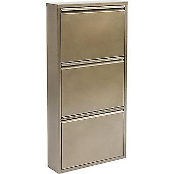 Kare Design Schuhkipper Carusa, Metall, schmal, klein, Bronze, 3 Klappen, Flurmbel, Schuhablage,