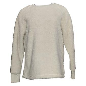 Cuddl Duds Women's Sweater Shaggy Sherpa Pullover Ivory A381801