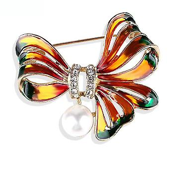 Highend Ladies Brooch Butterfly Corsage Painted Enamel Pearl Brooch Pin