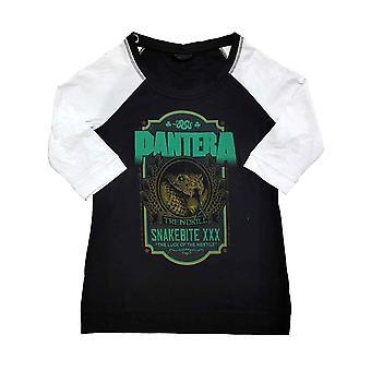 Pantera T Shirt Snakebite XXX Etikett Band Logo Raglan 3/4 Ärm Womens