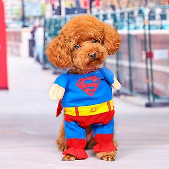 Dog cat clothes superman cloak sweater halloween christmas standing outfit
