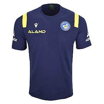 Macron Parramatta Eels 2021/22 Mens Rugby League Cotton T-Shirt Navy Blue