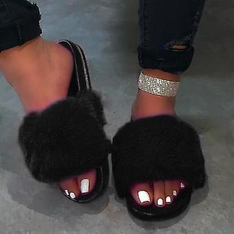 Furry Beach Flip Flops Peluches Chaussures femmes moelleuses