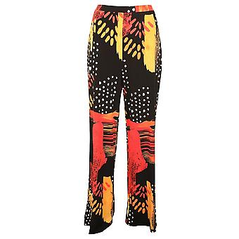 Frank Lyman Black & Orange Wide Legged Elasticated Waist Pull On Trousers