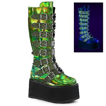 Demonia Damen Stiefel DAMNED-318 Lime grün Hologramm Vegan Leder