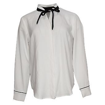 Elizabeth & Clarke Button-Front Tie Colloar Top White A353170