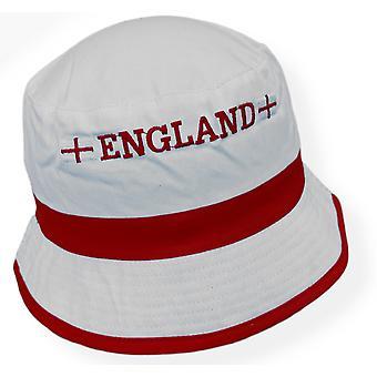 England Football Flag Hat 100% Cotton Bucket Hat Euro 2020 2021 - White