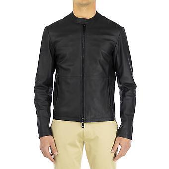 Armani Jeans Men Leather Jacket Regular fit  Full sleeve Black