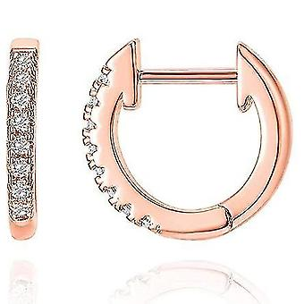 14k Gold Plated Cubic Zirconia Cuff Earrings Huggie Stud(Rose Gold)