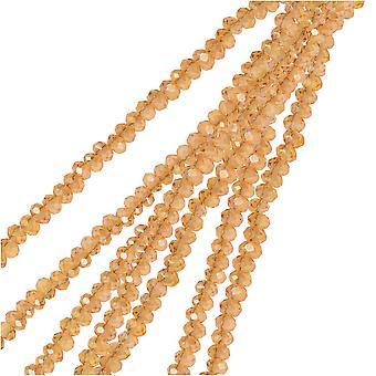 Crystal Beads, Faceted Rondelle 1.5x2.5mm, 2 Strands, Transparent Topaz AB