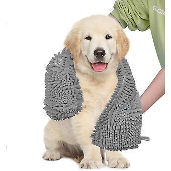 2X الكلب منشفة فائقة الامتصاص الشامي السوبر مع جيوب اليد، سريعة الجافة الناعمة الألياف الدقيقة chenille المواد مناشف حمام الحيوانات الأليفة، رمادي