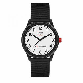 Women's Watch Ice Watch Ice Watches solar power - Black white - Numbers - Small - 3H 018478 - Silicone Strap Black