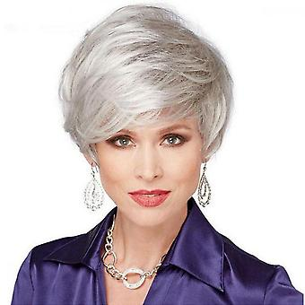 Heat Resistant Short Straight Wavy Hair Synthetic Full Wig With Oblique Bangs