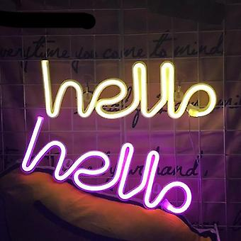 Neon signs hello led neon light sign letters