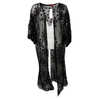 Carlos By Carlos Santana Women's Sweater Star Lace Mesh Topper Black 746366