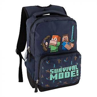 Minecraft Survival Mode Ryggsekk Skoleveske Ryggsekk Veske 36x27x12cm