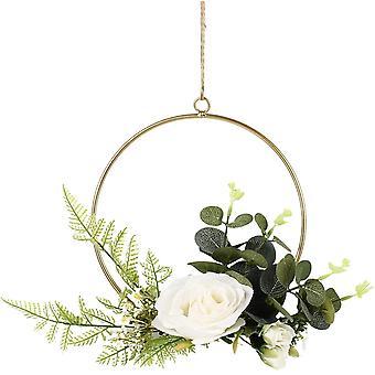 Kunstmatige bloem hangende decoratie ronde metalen ring muur krans