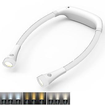 充電式ブックライト、4 LED3色ネックハグリーディングライト、ホワイト
