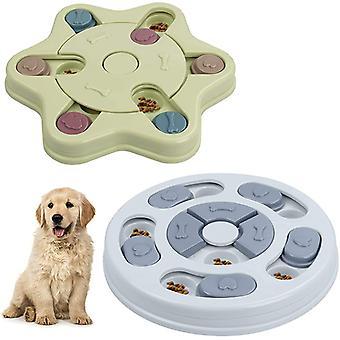 hund puslespill sakte mater leketøy, 2pcs valp godbit dispenser trening interaktiv bolle