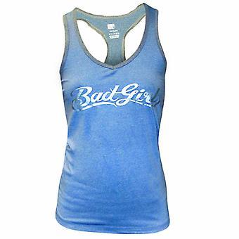 Bad Girl Logo Racerback Fitness Tank Top - Blue Marl/Charcoal Marl