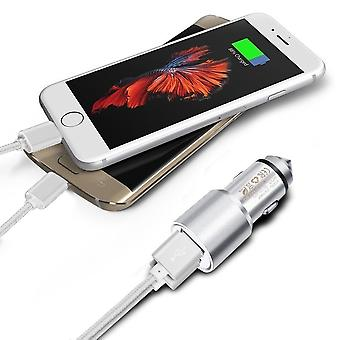 (Silver) Dual Port Aluminium Car Charger Adaptor (3.1A/24W) & 2 x 1 Meter Micro-USB Data Cable For Blu Tank Xtreme 2.4