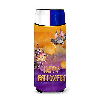 Halloween Little Witch and Bat Michelob Ultra Hugger for slim cans