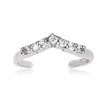 14k White Gold CZ Cubic Zirconia Simulated Diamond Adjustable V Shape Body Jewelry Toe Ring Jewelry Gifts for Women