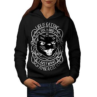 Life Hard Be Cat Funny Women BlackHoodie | Wellcoda