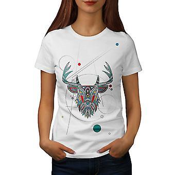 スタイリッシュな鹿獣女性 WhiteT シャツ |Wellcoda