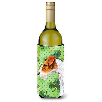 Fox Terrier St Patrick's Wine Bottle Beverge Insulator Hugger