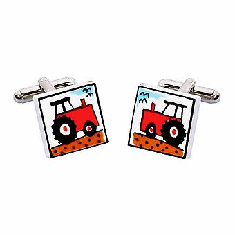 Red Tractor Cufflinks by Sonia Spencer, in Presentation Gift Box. Hand painted