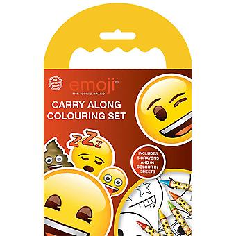 Emoji Carry Along Colouring Set with Wax Crayons