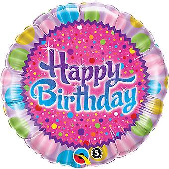 Qualatex 18-calowe okrągłe urodziny kropi & błyszczy folia balon