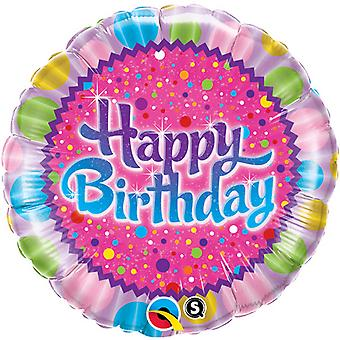 Qualatex 18 Inch Round Happy Birthday Sprinkles & Sparkles Foil Balloon