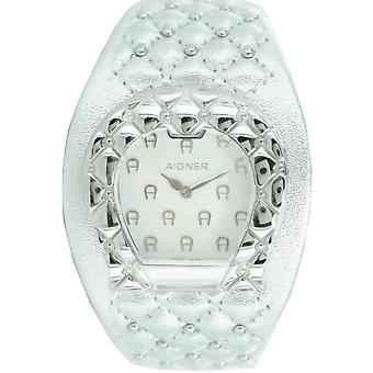 Aigner ladies watch wristwatch leather band silver A41206