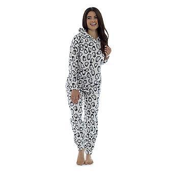 Foxbury dame Fleece Polar dyr udskrive Twosie pyjamas sæt