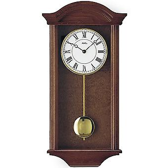 Quartz wall clock with pendulum quartz solid wood lacquered Walnut colours