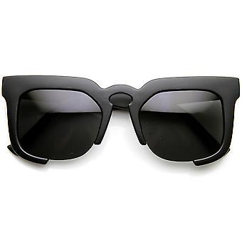 High Fashion Bold Square Semi-Rimless Keyhole Horn Rimmed Sunglasses
