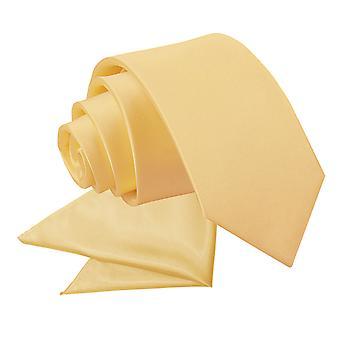 Pale Yellow Plain Satin Krawatte & Einstecktuch für jungen eingestellt