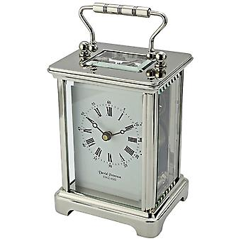 David Peterson Chrome Plated Obis 8 Day Mechanical Carriage Clock - Silver