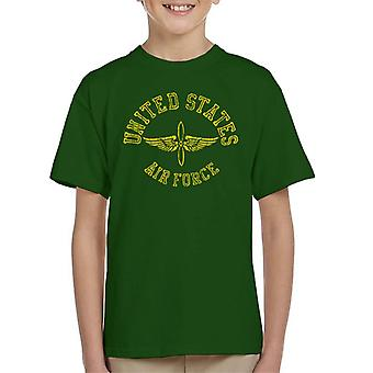 US Airforce Winged Propeller Yellow Text Kid's T-Shirt