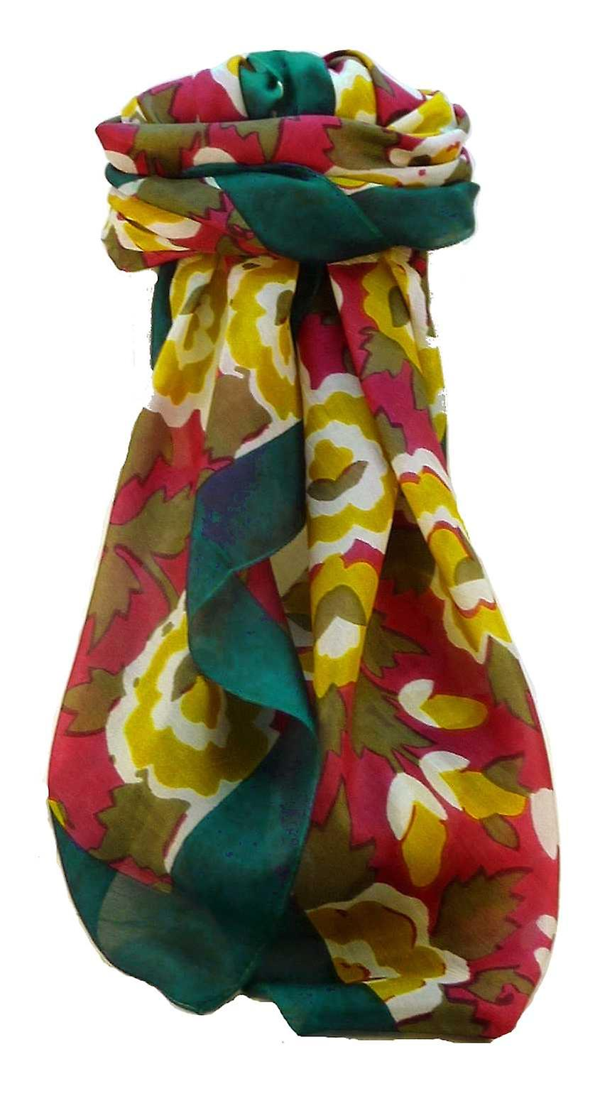 Mulberry Silk Contemporary Square Scarf Ashari Teal by Pashmina & Silk